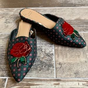 A New Day Pointed Mules w/Red Rose